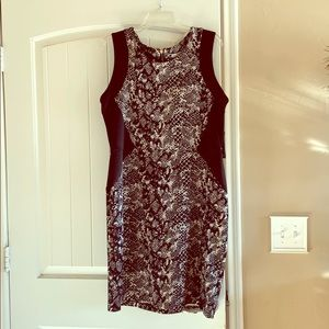 NWT black and snakeskin bodycon dress
